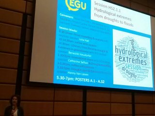 Anne Van Looning introducing the hydrological extremes session